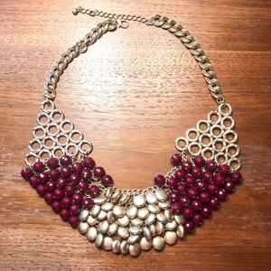 Francesca's collection gold and burgundy necklace